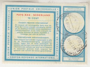 NETHERLANDS, INTERNATIONAL REPLY COUPON, 1972 75c., cashed in Apia, Samoa.