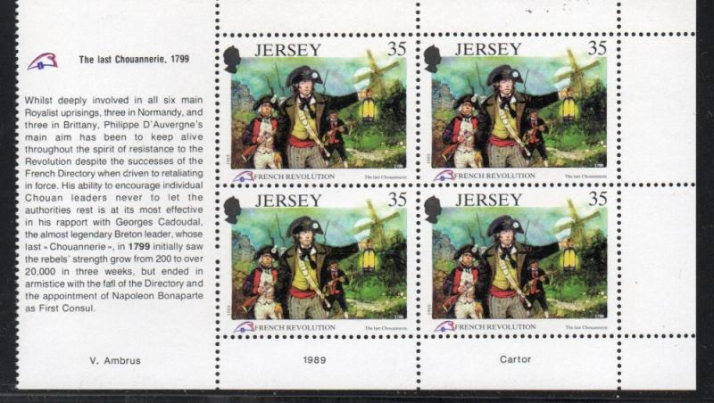 Jersey Sc 521a 1989 35p French Revolution stamp booklet pane mint NH