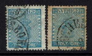 Sweden SC# 8 and 9, Used, Hinge Remnant, Toned -  Lot 032217