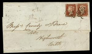 SG8, 1d red-brown, FINE USED. Cat £800+ blk MX  NUMBER 8 PAIR. PAIR. ON COVER