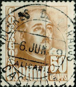ESPAGNE / SPAIN 1949 VALORES DECLARADOS  ALICANTE CASTALLA d.s. Ed.1022a/Mi.952a