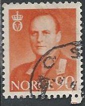 Norway 369 (used) 90ø Olav V, orange (1959)