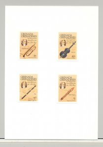 Grenada Grenadines #699-703 Bach, Composer, Music 4v & 1v S/S Imperf Proofs
