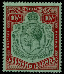 LEEWARD ISLANDS GV SG79, 10s green & red/green, LH MINT. Cat £80.