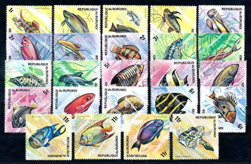 [66054] Burundi 1974 Marine Life Fish 24 Values MLH