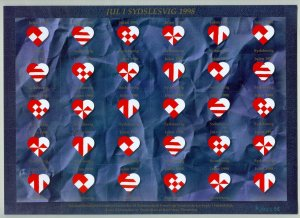 Denmark. 1998 Southslesvig Christmas Sheet MNH. Unfolded. Craft. Paper Heart's