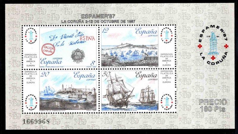 SPAIN Scott 2529 MNH** ESPAMER'87 souvenir sheet