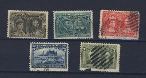 5x 1908 Quebec Used Tercent. stamps 1/2c-1c-2c-5c 7c Damaged GV = $102.00