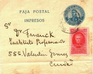 ARGENTINA Postal Stationery Uprated WRAPPER 1 Centavo Buenos Aires c1910 SV24