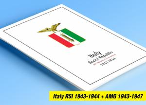 COLOR PRINTED ITALY RSI + AMG 1943-1947 STAMP ALBUM PAGES (18 illustrated pages)