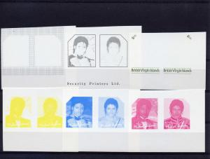 British Virgin Islands 1985 MICHAEL JACKSON  Progressive Proofs  11 Pairs MNH