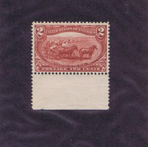 SC# 286 UNUSED OG NH 2c FARMING IN THE WEST, 1898, BOTTOM MARGIN, VF XF
