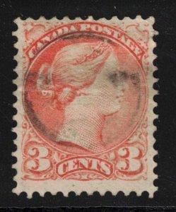 CANADA - 3c QV SC37 Red Orange 1873