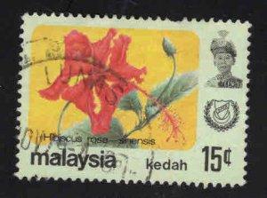 MALAYSIA Kedah Scott 124 Used flower stamp
