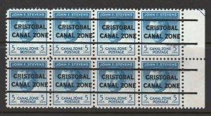 Canal Zone 1946 John F. Wallace 5c Scott # 139 MNH Block of  8 Precancel