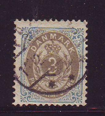 Denmark Sc 25 1875 3 ore  stamp used
