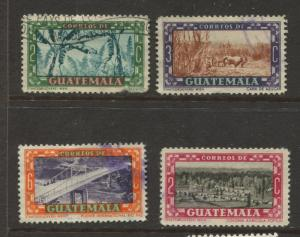 Guatemala - Scott 332-334,349 - General Issue -1951- Used - 4 Single Stamps