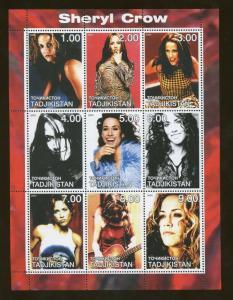 Tajikistan Commemorative Souvenir Stamp Sheet - Musician Sheryl Crow