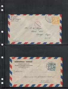 2 Air Mail Covers from Curacao 1937 & 1941 Censored