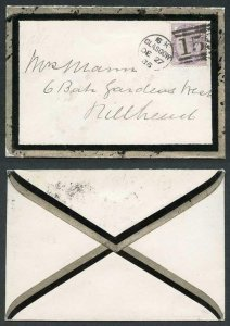 Unusual 1886 Mourning Envelope with a Border in SILVER and Black