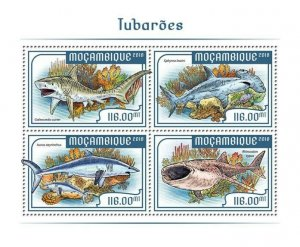 Mozambique Marine Animals Stamps 2018 MNH Sharks Whale Shark Fauna 4v MS
