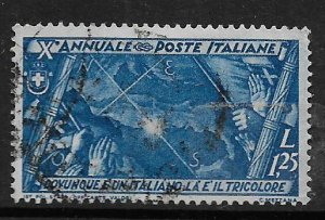 ITALY, 301, USED, FLAG ,MAP & POINT OF COMPASS