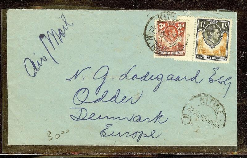 NORTHERN RHODESIA (P1210B) KGVI 3D+1/- A/M FROM KITWE TO DENMARK  1952