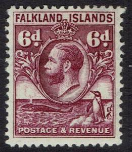 FALKLAND ISLANDS 1929 KGV WHALE AND PENGUIN 6D