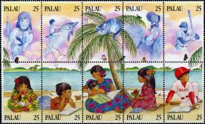 Palau #220 Literacy MNH Block of 10