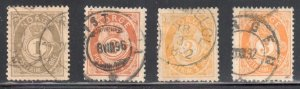 Norway #36, 37, 38, 38a ALL USED