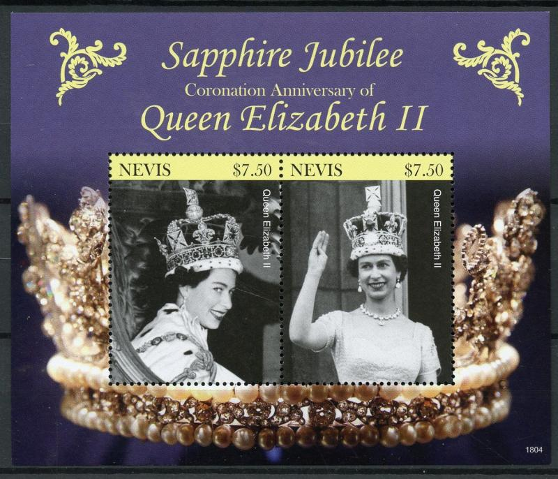 Nevis 2018 MNH Queen Elizabeth II Coronation Sapphire 2v S/S Royalty Stamps