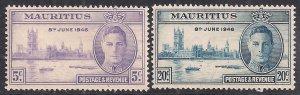 Mauritius 1946 KGV1 Set of Victory Umm SG 264 – 265 ( C1074 )