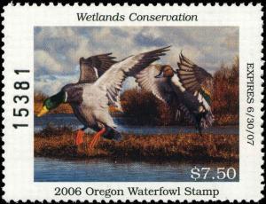 OREGON #23 2006 STATE DUCK STAMP PINTAILS/MALLARDS by Robert Steiner