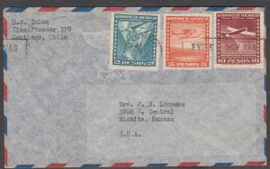 Chile 1934 airmail from Chile to Kansas Scott# C40 C43 C46  on cover