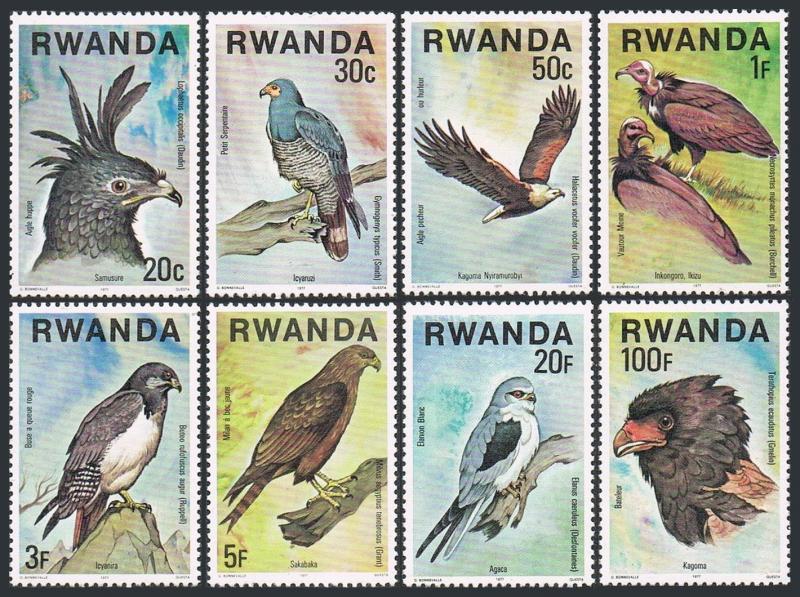 Rwanda 828-835,MNH. Birds of Prey,1977.Eagles,Vulture,Buzzard,Kite,Bateleur.