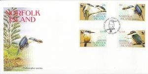 Norfolk Island 2004 FDC Sc #832-835 Set of 4 Sacred kingfisher - Worldwide Fu...