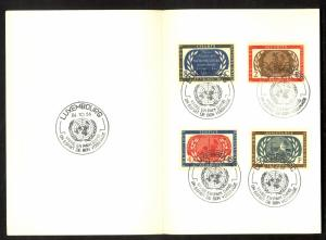 LUXEMBOURG 1955 UNITED NATIONS ANNIVERSARY Set in Special Folder w POSTMARKS