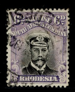 RHODESIA GV SG266, 6d black and dull mauve, USED.