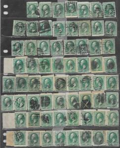 207 Used, 3c. Washington, 105 stamps, scv: $84  FREE INSURED SHIPPING,108