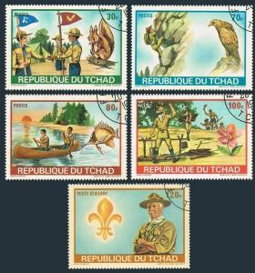 Chad 257-59,C118-119,CTO. Scout Jamboree 1972.Squirrel,Eagle,Fish,Canoeing,