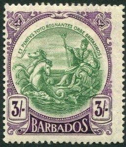 BARBADOS-1918-20 3/- Green & Deep Violet Sg 200 MOUNTED MINT V33813