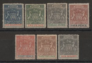 RHODESIA 1892 Arms set ½d to 4/-.