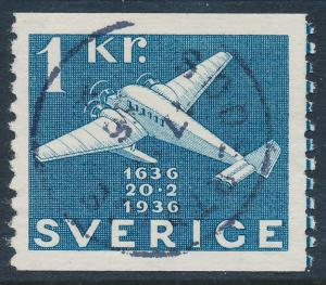 Sweden Scott 262 (Fa 257), 1 Kr blue Post Office, VF Used
