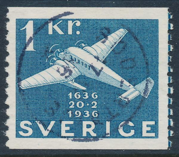 Sweden Scott 262 (Fa 257), 1 Kr blue Post Office, VF Used