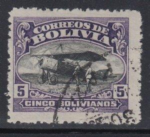 Bolivia 1924 Aviation School 5b Dark Violet & Black. Used. Scott C7