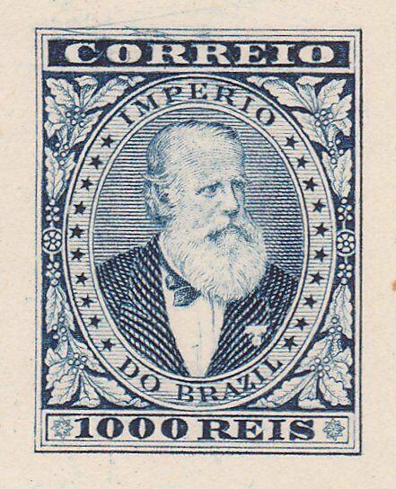 BRAZIL 1000 Reis large die proof in blue - countersunk on thick paper......87796