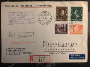 1946 Lichtenstein Amsterdam to South africa First Flight Cover FFC # 215 216