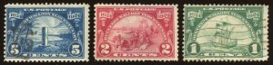 U S Sc# 614, 615 & 616 Used.  Huguenot-Walloon Tercentenary.  2021 SCV $18.25