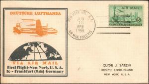 1955 NEW YORK NY FIRST FLIGHT LUFTHANSA TO GERMANY