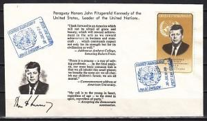 Paraguay, Scott cat. 828 only. J. Kennedy value from set on a First day cover.